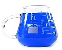 Premium Erlenmeyer Flask Mug, Borosilicate Glass, 16.9oz (500mL) Capacity