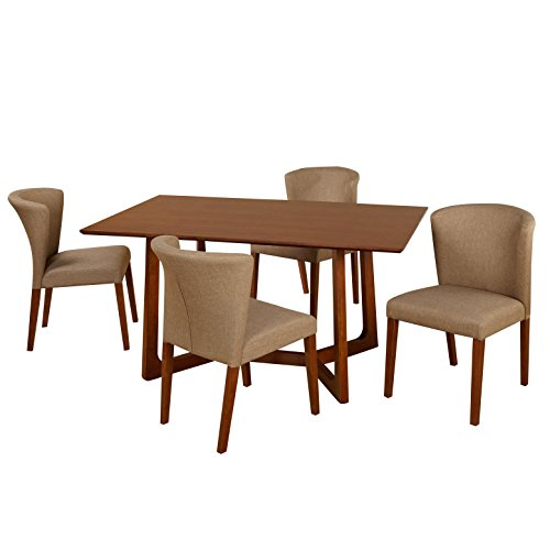 Target Marketing Systems 5 Piece Olivia Mid-Century Transitional Dining Set with 4 Upholstered Linen Chairs and Dining Table, Dark Walnut