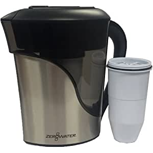 zerowater 8 cup stainless steel pitcher with free tds meter total dissolved solids and bonus. Black Bedroom Furniture Sets. Home Design Ideas
