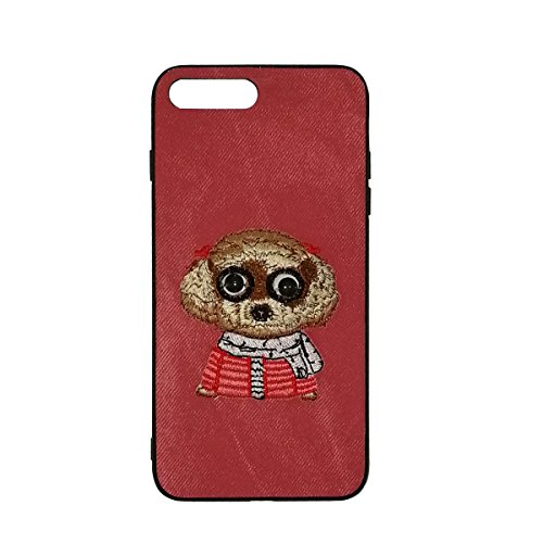 iPhone 7/8 Plus Case 3D Embroidery,RIHUWEN Men Women Girl Cute Dog Soft Sillicone Shockproof Skin Protective Apple Cover with Tempered Glass Screen Protector (Red)