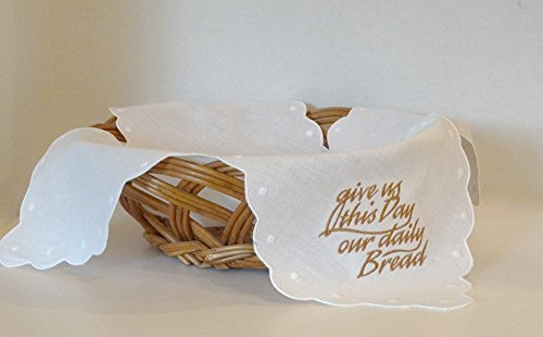 Embroidered Linen Bun/Bread Warmer Cloth with Swiss Dots - Give Us This Day Our Daily Bread
