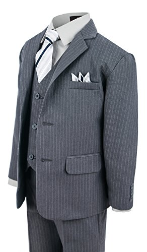 Gino Giovanni Boy's Formal 2 Buttons Pinstripe Dresswear Suit Set