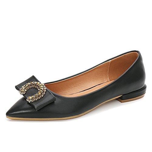 Classic Toe On JINANLIPIN Dress Slip Black Ballet Women's Loafer Shoes Ballerina Flats Pointy 6wxqt54q1