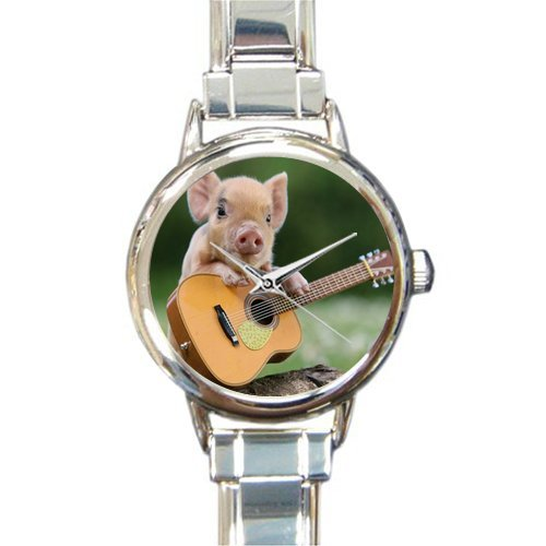 Personalized Watch Funny Pig with Guitart Round Italian Charm stainless steel (Pig Italian Charm)