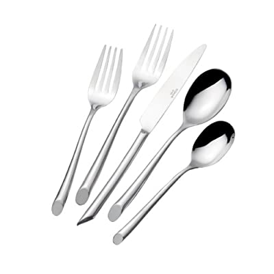 Towle Living T8613200 Wave 20-Piece Forged Stainless Steel Flatware Set, Service for 4 - This 20-piece flatware set, service for 4, includes (4) of each: dinner fork, salad fork, dinner knife, dinner spoon and teaspoon Contemporary wave handle with bias-cut bases give your table a modern look This flatware set is made of 18/0 stainless steel and has a mirror finish - kitchen-tabletop, kitchen-dining-room, flatware - 41OIUoKoDqL. SS400  -