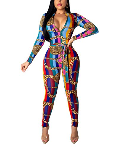 Women's Sexy 1 Piece Outfits Floral Print Zipper Bodycon Long Pants Jumpsuit Romper Red]()