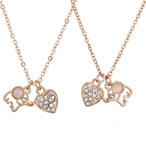 Lux Accessories Rose Gold Tone Elephant Heart BFF Best Friends Necklace Set 2PC - Heart Rose Tattoo Dress