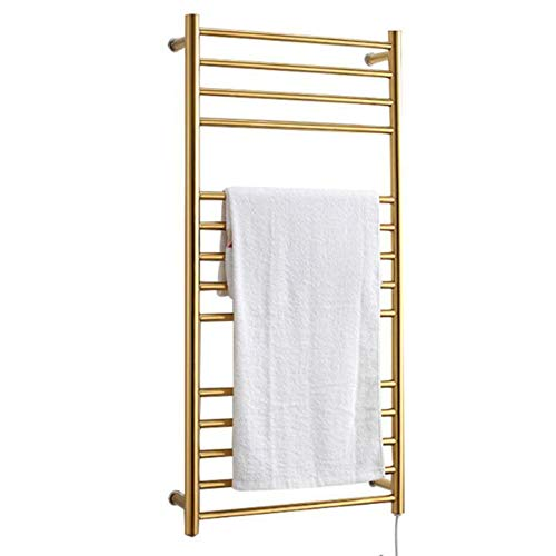 ZJINHUI 304 Stainless Steel Towel Rack, Luxury Wall-Mounted Electric Towel Rack, Electric Towel Rack with 14 Bars, IP56 Waterproof, 160W, for Bathroom, Gold