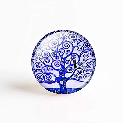 Jammas Klimt Tree of Life Pendant Making 25mm Round Glass Cabochon Gemstone Jewelry Accessories - (Color: as Show, Size: -