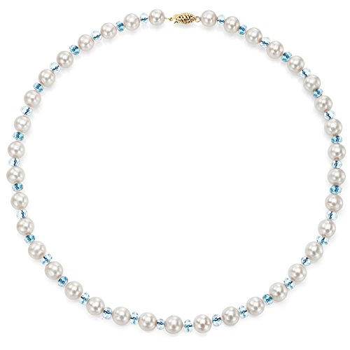 14k Yellow Gold 8-8.5mm White Freshwater Cultured Pearl and 4-4.5mm Simulated Blue Topaz Necklace, 18