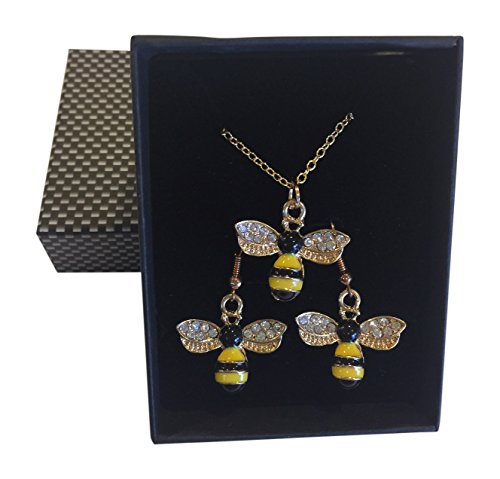 Handmade Bumble Bee Necklace and Earring Set in Gift Box ~ Mothers Day/Birthday/Graduation