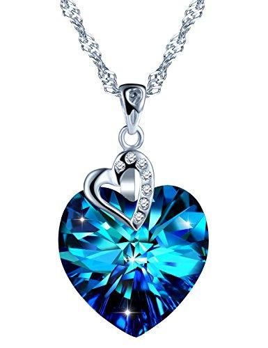 """SixLuo Damen 925 Sterling Silber Halskette""""Herz des Ozeans"""" Blau Kristall Zirkonia Anhänger Herzkette mit Swarovski Steinen Valentinstag Weihnachtsgeschenk"""