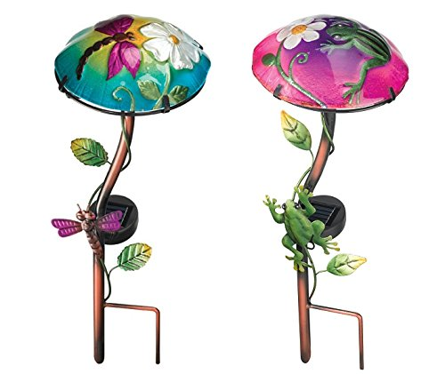 Regal Solar Mushroom Stakes for Garden, Driveway, Pathway or Walkway (Dragonfly & ()