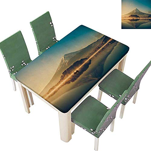 Printsonne Indoor and Outdoor Tablecloth Mount Fuji san at Lake kawaguchiko in Japan mt.Fuji Reflection on Sunrise Vintage Tone Liquid Spills Bead up 50 x 102 Inch (Elastic Edge)