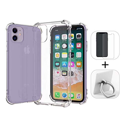 Phone Accessories Bundle with Transparent Shockproof Bumper Case, Tempered Glass Screen Protector, and Ring Holder for iPhone 11, 11 Pro, and 11 Pro Max- iPhone 11 from Avant Traders