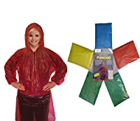 Rain Poncho for Adults (6 Pack) | Drawstring Hood and Elastic Sleeve Ends | Thicker Material | Emergency Disposable Rain Poncho | Assorted Colors | 100% Waterproof