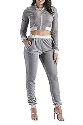 Guangmao Women's Full-Zip Velour Short Sweatshirt and Pants Tracksuit Sweatsuit Jogging Suit Outfits