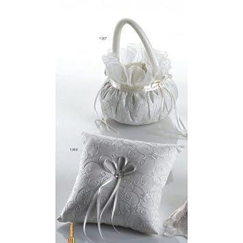 Cojín anillos boda y cesta arras o pétalos redonda CESTAS COJINES BODA