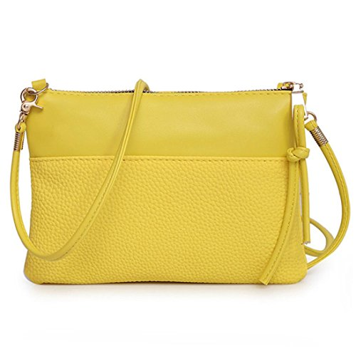 Clutch Small PU Pouch Handbag Yellow Purse Bag Leather for Crossbody Women Cellphone IFqTg