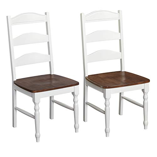 Target Marketing Systems Skipton Collection Modern Armless Ladder Back Dining Room Chairs, Set of Two, White/Wood