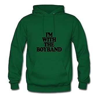 Customized Green Women Fashionalble X-large Unique I'm With The Boy Band Cotton Sweatshirts