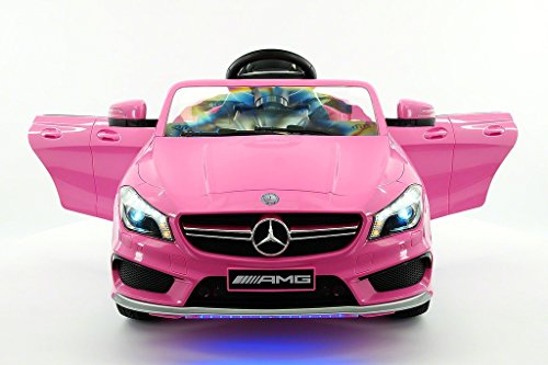 (2018 Licensed Mercedes CLA45 Kids Electric Ride-ON CAR Toy, Leather, MP3 USB Player, 12V Battery LED Wheels, LED Body KIT, Removable Baby Tray Table with Parental Remote | Pink)