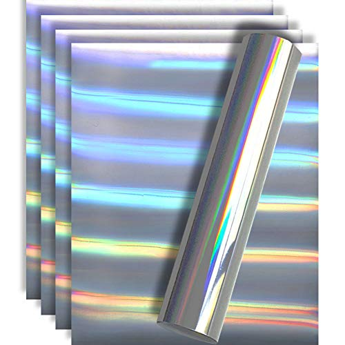 Holographic Rainbow Silver Metallic Foil HTV Heat Transfer Vinyl for Tshirt and Apparel 12