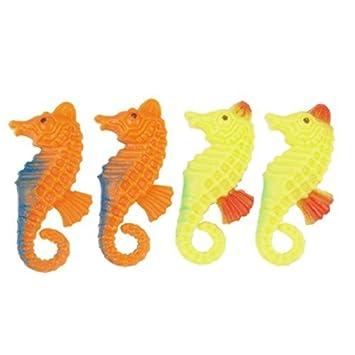 Jardin acuario de plástico flotante de 4 piezas de caballitos de mar, amarillo / naranja: Amazon.es: Productos para mascotas