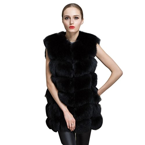 Chaleco largo de mujer Chaleco de piel sintética (Blanco, chaleco de mujer-pequeño) Negro