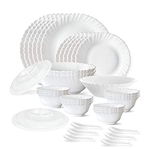 Larah by Borosil Plain White Silk Series Opalware Dinner Set, 35 Pieces, White