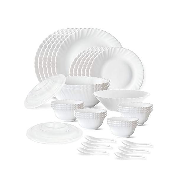 Larah by Borosil Plain White Silk Series Opalware Dinner Set, 35 Pieces, White