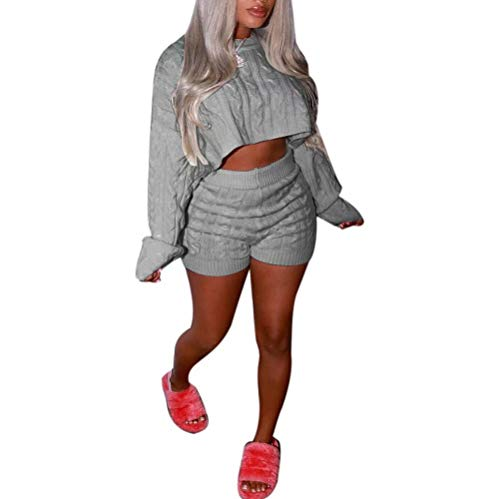 Women's 2 Pieces Outfits Knitted Pullover Sweaters Suit Crop Tops Casual Shorts Party Clubwear Tracksuit Jumpsuits Set(Gray,S)