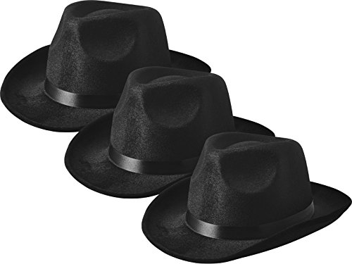 NJ Novelty - Fedora Gangster Hat, Black Pinched Hat Costume Accessory, Set of 3 (Adult Novelty Hats)