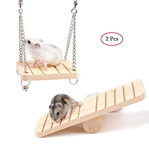 kathson Hamster Seesaw Climbing Swing Wooden Toys for Small Squirrels Hamsters Gerbil Mouse Dwarf Rat 2Pcs