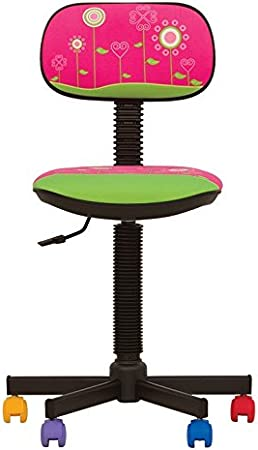 Bambo–Silla de escritorio infantil ergonómica, altura del asiento 42cm-56cm),altura del respaldo ajustable/giratorio 360°/ruedas multicolor-