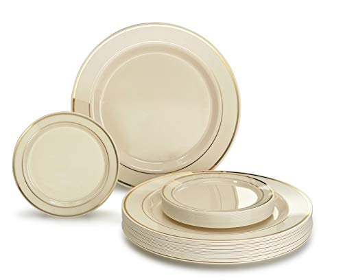 """OCCASIONS"" 50 Pack, Premium Disposable Plastic plates (25 x 10.5'' Dinner + 25 x 6'' Cake plates) Ivory/Gold Rim"
