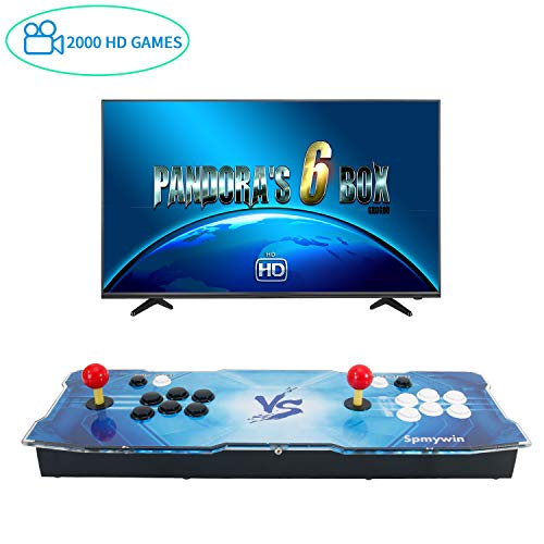 Spmywin GroGou Arcade Video Game Console 2000 HD Retro Games Pandoras Box 6 Arcade Machine Newest System 1280x720 Full HD Advanced CPU Support PS3 2 Player Arcade Joystick 1