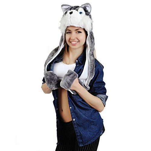 Huskies Huskie Head - Metrust Plush Faux Fur Animal Critter Husky Hat Cap Soft Warm Winter Huskie Headwear