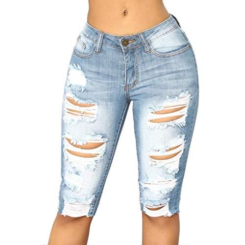 Elastic Denim Leggings Destroyed Bermuda Shorts Jeans Pants ()