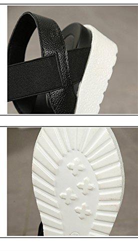 Negro Mujer Verano Plata Deportivas Sandalias Zapatillas 4cm 40 Cuero 35 Blanco Plataforma 0Xqxtxd