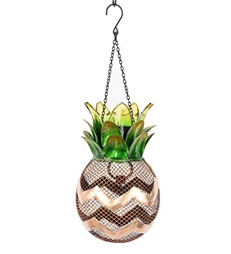 Plow & Hearth Solar Pineapple Metal Bird Feeder - 6.5 Dia x 18.75 H Overall Including Hanging Chain