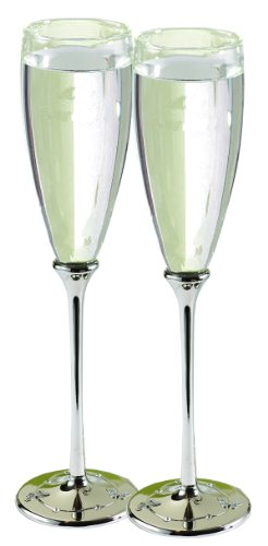 (Hortense B. Hewitt Wedding Accessories Champagne Toasting Flutes, Butterfly Beauty, Set of 2)