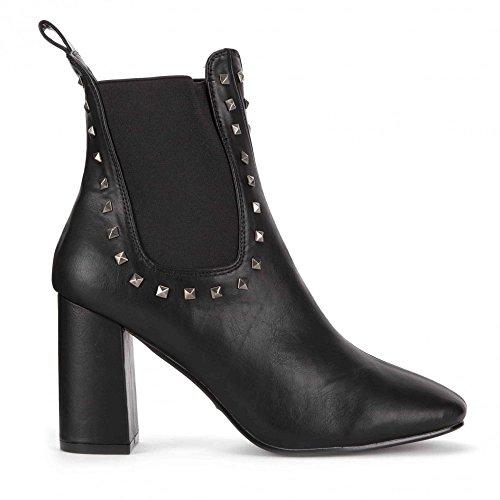 Pu Onlineshoe détails Boot Côtés Chelsea Women's Classic Black Élastiques Cloutés zx6Sz
