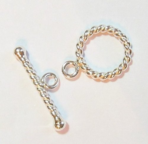 1 set .925 Sterling Silver Round Twist Rope Toggle Clasp (12 Sterling Silver Toggle Clasp)