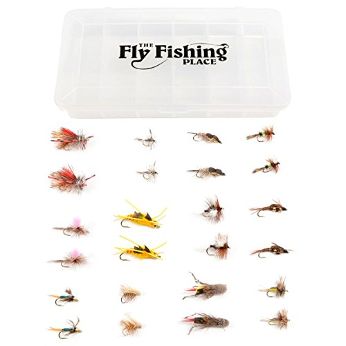 Western Trout Fly Assortment - Essential Dry and Nymph Fly Fishing Flies Collection - 2 Dozen Trout Flies with Fly Box