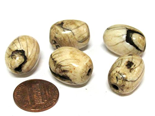 (1 BEAD - old solid naga conch shell beads olive barrel shape)