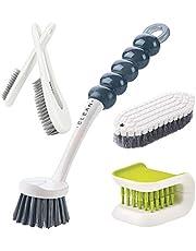 Kitchen Household Cleaning Brush, Multipurpose Cleaning Brush Set,including Knife Fork Cleaner | Grips Dish Brush | Cook Pot Brush | Shoe Brush | Corners |Scrub Brush Bathroom Brush | Bottle Cleaning Brush-5 Pcs