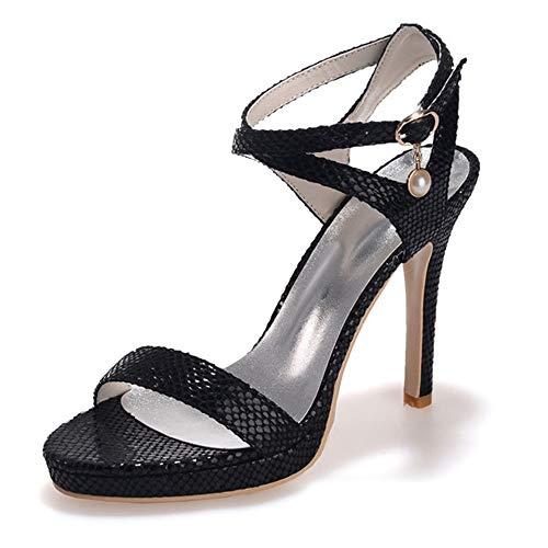 con da Zxstz Scarpe nero alto donna Scarpe con da lavoro alto Sandali tacco tacco UvqBSW6vn