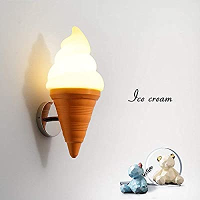 ZLHW Ice Cream Cone Shape Wall Sconce Iron Wall Lamp Cafe Restaurant Bar Counter Sweet Shop Children's Room Wall Light Fixture E27