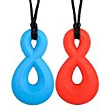 Chewelry for Boys & Girls - Sensory Chew Necklace - Chewlery for Autism ADHD Oral Motor Chewing Biting Teething Needs - Infinity Twist 2-Pack by Solace